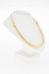 14 Karaat gouden Blokjes Omega schakel collier - 43,3 cm