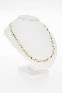 14 Karaat bicolor gouden Fatasie schakel Collier - 45 cm