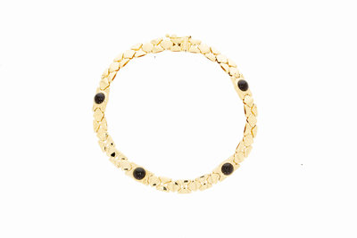 14 karaat geel gouden schakel armband met Saffier