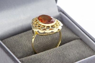 14 Karaat gouden ring gezet met synthetische oranje Spinel