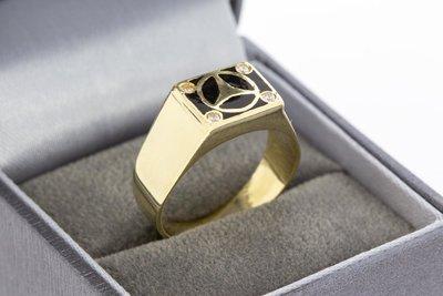 14 Karaat gouden Statement ring met Mercedes logo
