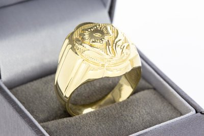 """14 Karaat geel gouden Statement ring met """"Bloemen figuur"""""""