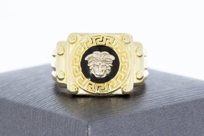 14 Karaat  bicolor gouden -VERSACE style- statement ring