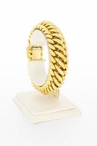 18 Karaat geelgouden brede Gourmet schakelarmband-19,4 cm