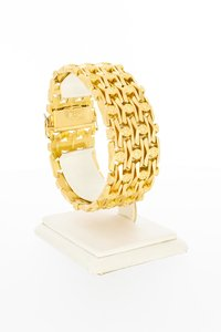18 Karaat rosé gouden brede schakelarmband - 19 cm