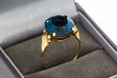 14 Karaat geelgouden ring gezet met Topaas Blue Sky