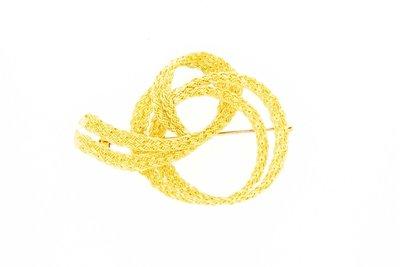 18 Karaat geel gouden twee baans Krul  Broche