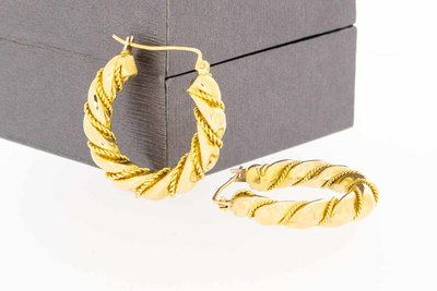 18 Karaat geel gouden omwonden Koord Creolen - 26,9 mm