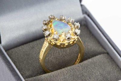 18 Karaat gouden ring gezet met Opaal en Saffier - 16,3
