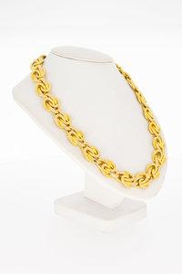 18 Karaat biccolor gouden gevlochten schakel Collier-41 cm