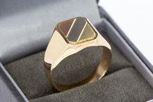 14 Karaat gouden Zegelring met een tri color Zegelbed