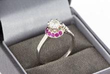 18 Karaat gouden Ring gezet met Saffier en Diamant-0.69 crt