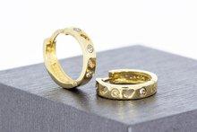 14 Karaat gouden Clip Creolen met Diamant -diameter 13,7