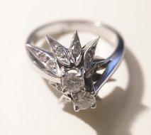 Antieke-handvervaardigde-14-K-witgouden-diamant-fantasie-ring-0.50-crt-H-VVSI