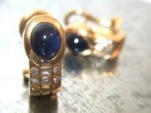 Gouden Oorbellen met Saffier & Diamant