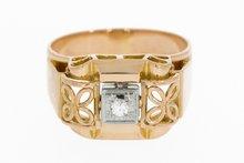 18K Rosé Gouden Ring met Diamant