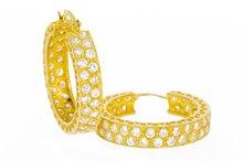 14 karaat geel gouden Creolen gezet met Zirkonia