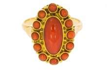 14-K-Antiek-Gouden-Entourage-Ring-Bloedkoraal-(Amsterdam)-Verkocht