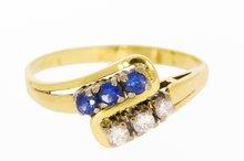 14 Karaat geelgouden Slagring gezet met Saffier & Diamant