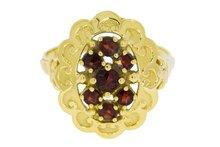 14 K Gouden Entourage Ring met Granaat