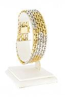 18 K Gouden Bicolor gourmet armband diamant-19 cm