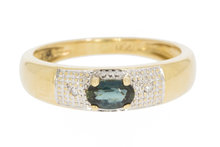 18 Karaat gouden Bicolor ring gezet met Saffier & Diamant