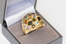 14K handgemaakte Gouden Fantasiering met diverse stenen