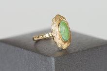 14 K antiek geelgouden ring met Jade
