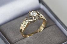 14 Karaat bicolor gouden Solitair ring gezet met Zirkonia