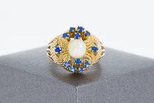 18 K gouden Markies ring met Parel en Saffier