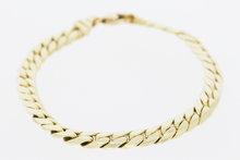 14 K gouden gewalste gourmet armband- 19,5 cm