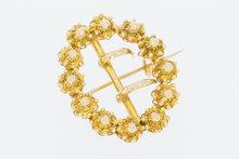 Antieke-14-K-geelgouden-Broche-met-12-Zeeuwse-Knopjes