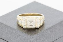 14 K bicolor gouden zegelring, zegelbed voorzien van 9 briljant geslepen Diamantten