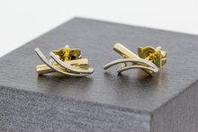 14 K bicolor gouden oorstekers met Zirkonia