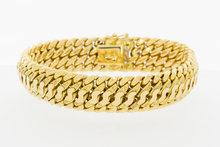 Gouden dubbele Gourmet armband-19,5