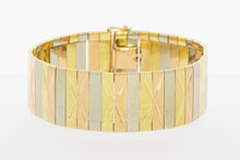 Tricolor gouden brede armband-19,5 cm