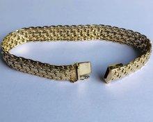 14 K gouden brede schakelarmband- 19,5 cm