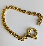 14 karaat bicolor gouden Anker schakelarmband - 19,5 cm