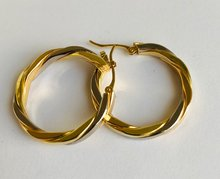 18K bicolor gouden Wokkel Creolen