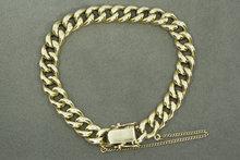 14 Karaat gouden Gourmet armband met dubbel eindstuk- 19 cm