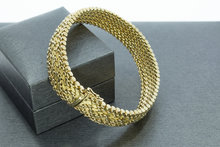 14 Karaat brede gouden gevlochten schakelarmband-19,5 cm