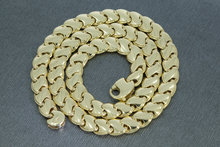 Bicolor gouden schakel Collier- 42 cm