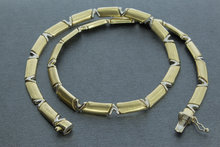 Bicolor gouden schakel Collier- 44 cm