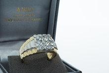 14 Karaat bicolor gouden Zegelring - Rolex style schouders