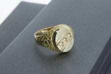 14 Karaat bicolor geel gouden Statement ring met Zirkonia