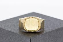 14 Karaat geel gouden zegelring met geborsteld zegelbed
