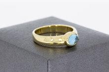 14 Karaat geelgouden solitair ring gezet met Aquamarijn