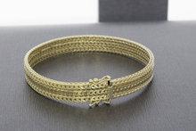 14 karaat geelgouden gevlochten schakel armband - 18,5 cm
