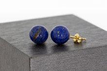Geel gouden Oorstekers met Lapis Lazuli