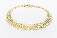 14 karaat geelgouden brede gevlochten schakelarmband - 19 cm